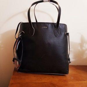 Black Leather Bucket Bag Light Gray Grey Trim